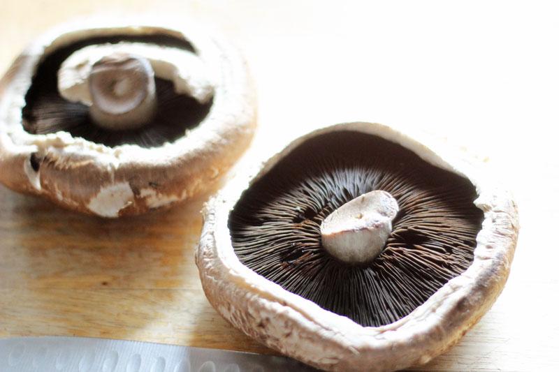 portobello mushrooms gill side up