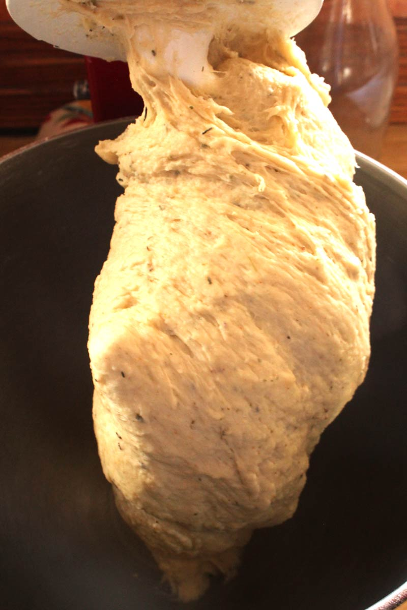 Bread ready in stand mixer