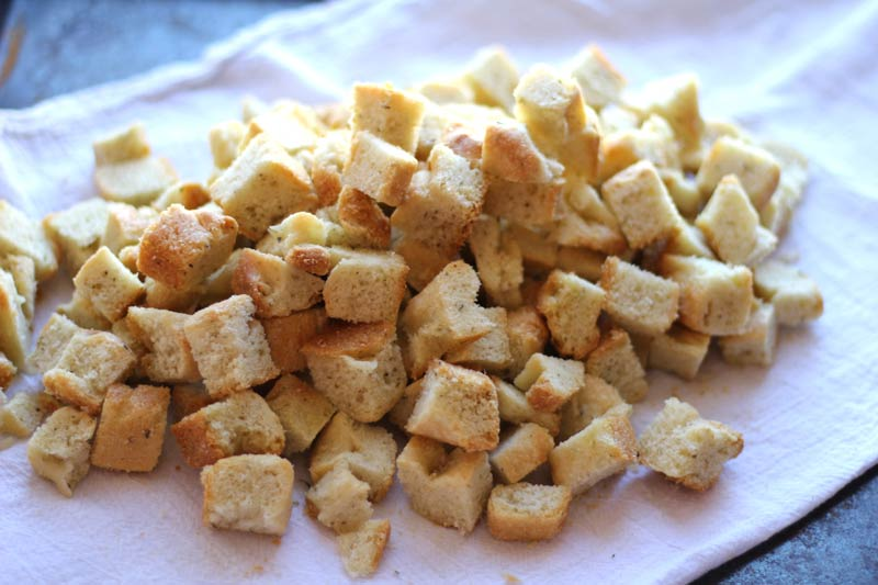 Focaccia bread croutons