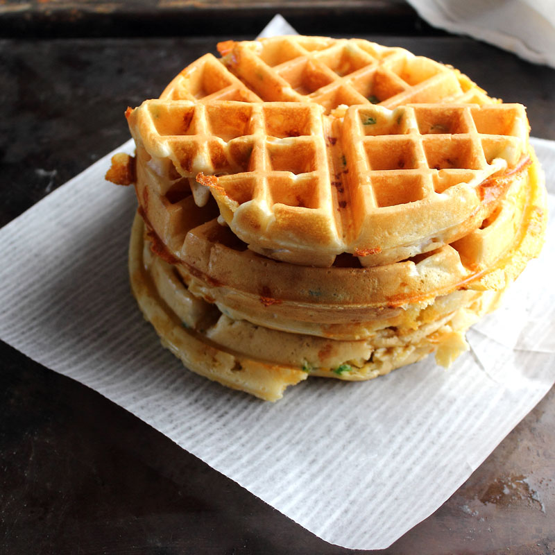 Cooked waffles jalapeno cheddar southwestern
