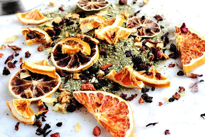 National Tea Day Fancy Tea Blend Grapefruit lemon lime orange blood orange dehydrated fruit green apple