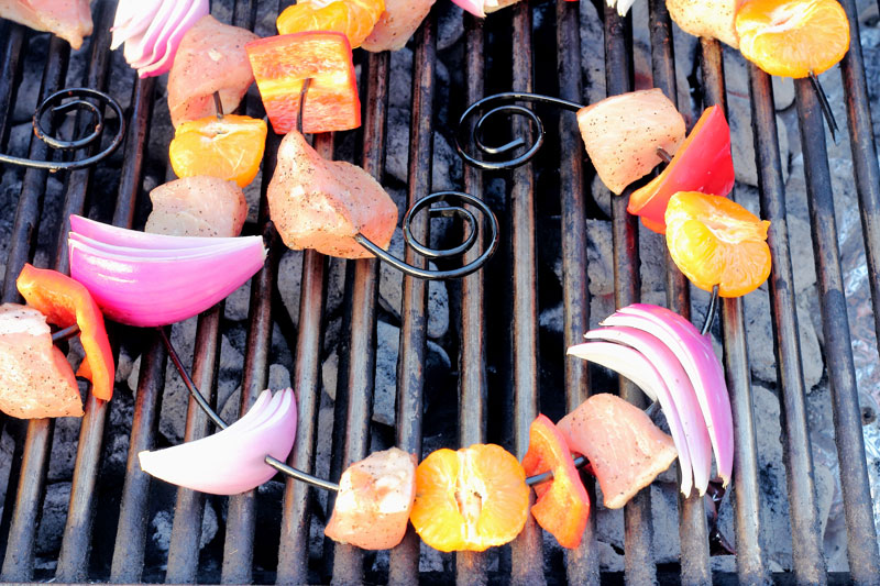Brandy honey glazed pork loin skewers on bbq grilling