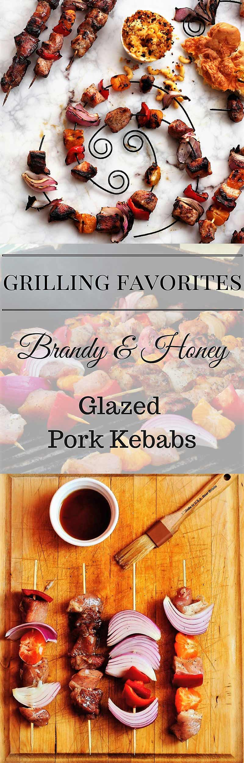 Brandy and honey Glazed Pork Kebabs Brandy Brown Sugar Onion Red Pepper Mandarin Orange