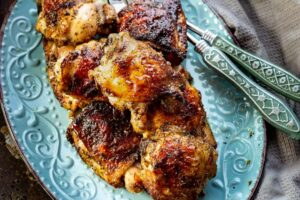 plated oven roasted chicken with seasoning