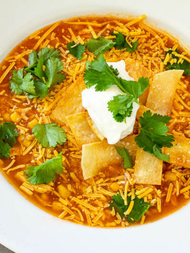Finished chicken tortilla soup in a bowl ready to eat
